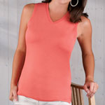 LAT Ladies Jersey V-Neck Sleeveless T-Shirt, 5.5 oz.